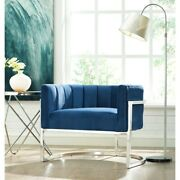 Magnolia Navy Chair With Silver Base Navy Blue Glam Modern And Contemporary