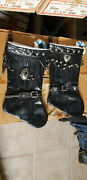 Pair Of Christmas Stockings Mustang Biker Black Silver Decor Leather Fringed