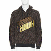 New Fendi Roma Amor Ff Zucca Monogram Gold Logo Embroidery Hoodie Pullover Xs
