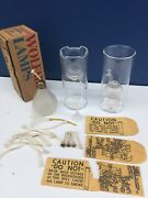 Vtg Lot 2 Wolfard Glass Oil Lamps 9 Tall Hand Blown Glass Used W/ Extras