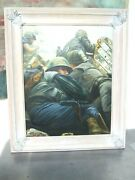 Original Ted Peters Oil Painting Of Wwi Soldiers Fox Hole