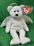 Halo Ty Beanie Babies Bear Rare W/ Brown Nose Mint Retired 1998 Tag Errors