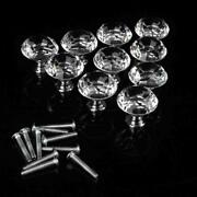 10pcs Diamond Shape Crystal Glass Cabinet Door Handles Drawer Pulls And Knobs