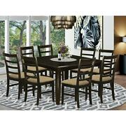 9 Pc Dining Room Set - Square Table And 8 Chairs In Brown Parf9-cap-c