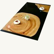 Epoxy Walnut Resin Wooden Dining Room Table Top Live Edge Design Gifts For Her