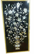 25x50 Black Marble Dining Table Top Mop Floral Inlay Marquetry Art Decor B897
