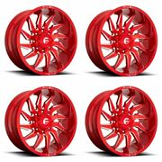 Set 4 20 Fuel D745 Saber 20x9 Candy Red Milled 8x6.5 Truck Wheels 20mm Rims