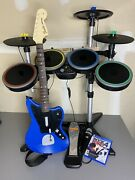 Rock Band 4 Ps4 Ps5 Rivals Bundle Guitar Drums Game Mic Rare Pro Cymbals Tested