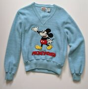 Vintage 70andrsquos Mickey Mouse V-neck Sweater Ladies Medium Baby Blue Terrycloth 100
