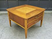 Lane Mid Century Style 1922 Walnut And Burl Maple 2 Drawer End Table C1959