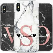 Personalised Marble Phone Case Pink Initial Hard Cover For Apple Iphone 11 X Se