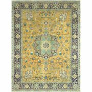 9and0399x12and0398 Hand Knotted Golden Yellow Wool Farsian Tebraz Vintage Rug R61205