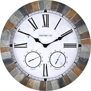 Large Wall Clock W/ Thermometer Hygrometer Indoor Outdoor Rustic Modern Decor