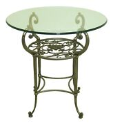 52310ec Ethan Allen Iron Base Round Glass Top Occasional Table
