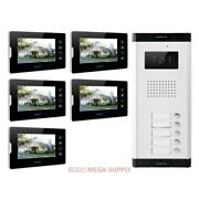 7 Wired Video Door Entry Intercom Kit Support Electric Lock For 5 Apartment