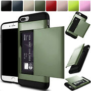 For Iphone 6 6s Plus Slide Card Slot Case Dual-layer Pc Rubber Shockproof Cover