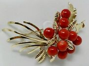 10 Kt Yellow Gold Mid-century Holly Berry Motif Coral Bead Brooch / Pin B0810