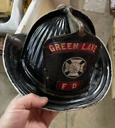 Antique Cairns Fire Helmet Leather Badge Green Lane Pa Montgomery County