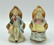 Victorian Man And Lady Sitting In Chair Blue And White Porcelain Figurine 2.75