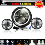 7inch Led Headlight + 4.5 Inch Fog Passing Lamp 2 Sets For Harley Motorbikes Usa