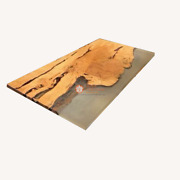Clear Resin River Walnut Epoxy Restaurant Dining Table Top Collectible Furniture