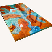 Natural Billet Epoxy Coffee Table Acacia Wood Blue Resin River Design Home Decor