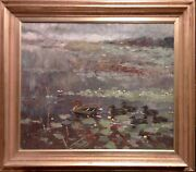 Johannes Ravn 1922-1991 Duck And Ducklings. Large, Beautiful Painting