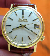Serviced 2181 Accutron Bulova G 40 Gold Electroplate Tuning Fork Men's Watch M9