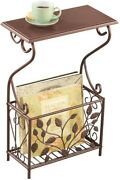 Small Side Table Furniture End Accent Bronze Sofa Wood Rack Storage Living Room