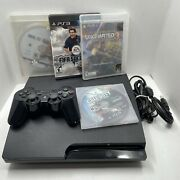 Sony Playstation 3 Ps3 Slim 320gb Console Cech-3001b 2 Controllers Black Ops