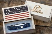 Ducks Unlimited Knife Sod Buster Jr Blue Jigged Bone Father's Day American Flag