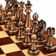 Chess Set Metal Luxury Figurines Folding Wooden Board Games Texture Classic Kit