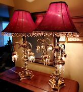 Exceptional Vintage Hollywood Regency Brass And Hanging Crystal Chandelier Lamps