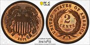 1871 Pcgs And Cac Pr65rb Two Cent Piece
