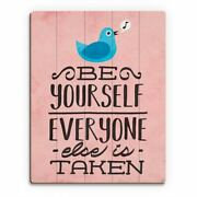 And039be Yourself Birdand039 Red Wood Wall Art