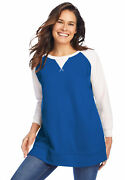 Woman Within Women's Plus Size Thermal Waffle And Terry Colorblock Tunic  -