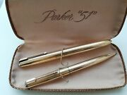 Parker 51 Signet/insignia Gold Fountain Pen And Pencil Made In Usa Boxed