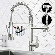Contemporary Spring Kitchen Sink Faucet With Pull Brushed Nickel New Style