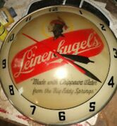 Leinenkugel Beer Vintage Glass Bubble Light Sign Wall Clock Lighted Chippewa Wi