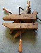 2 Vintage Large Jorgensen Ajustable Wood Clamps 14andrdquo And 16andrdquo Long Usa Made