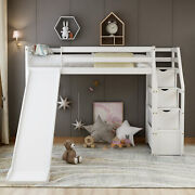 Twin Size Wood Loft Bed W/ Storage And Slide Kids Teens Bed Frame Espresso/white
