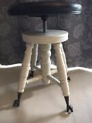 Antique Piano Stool Swivel Chair Glass Ball Claw Foot