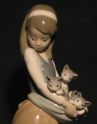 Lladro Girl With Cats Beautiful