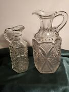 Pair Of Vintage Crystal Cruet Set Pressed Glass No Stoppers.