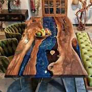 Blue Epoxy Walnut Top Resin River Table Center,side Dining Top Cafeteria Decors
