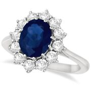 3.60ctw Natural Oval Cut Blue Sapphire And Diamond Statement Ring 14k White Gold