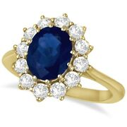 3.60ctw Natural Oval Cut Blue Sapphire And Diamond Cocktail Ring 14k Yellow Gold