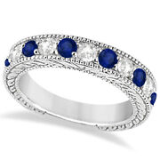 1.46ct Antique Diamond And Sapphire Engagement Wedding Ring Band 14k White Gold