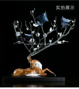 25and039and039 Classical Bronze Crafts Home Decorate Statue Wealth Butterfly Deer Statue