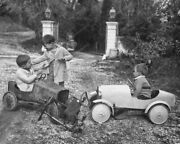 Children In Pedal Push Cars Playing Vintage 8x10 Reprint Of Old Photo